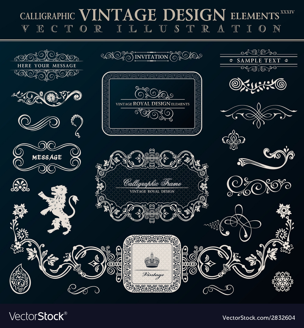 Calligraphic-heraldic-decor-elements-vintage-vector