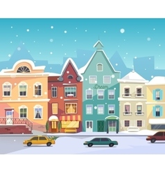 Sunny city street at winter cartoon buildings vector