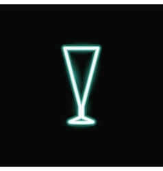 Neon cocktail glass icon vector