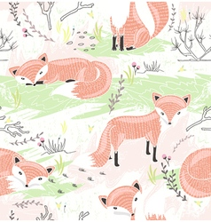 Seamless pattern with little foxes vector