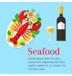 Lobster on a plate vector