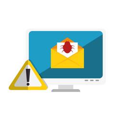 computer with computing alert vector image
