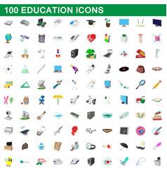 100 education icons set cartoon style vector image