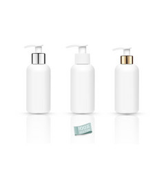 Set realistic bottles with soap pump isolated vector