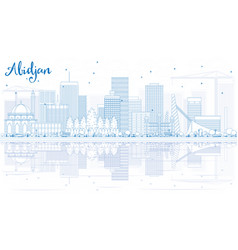 Outline abidjan skyline with blue buildings and vector