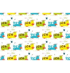 Brightly colored fun cow and milk seamless pattern vector