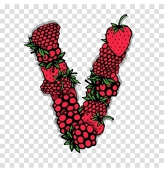 Letter v made from red berries sketch for your vector