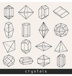 Set of geometric crystals gem and minerals vector