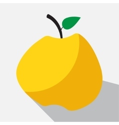 Yellow apple and long shadow vector