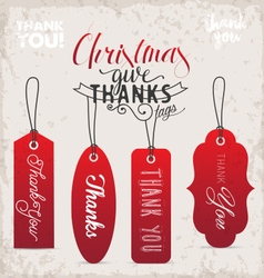 Red christmas gift thank you tags in vintage style vector