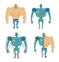 Set of cyborgs robot in human body iron metal vector