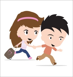 Man and woman with luggage couple travelling vector