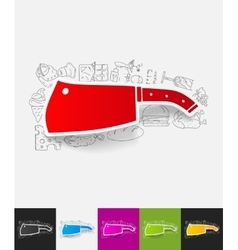 Knife paper sticker with hand drawn elements vector