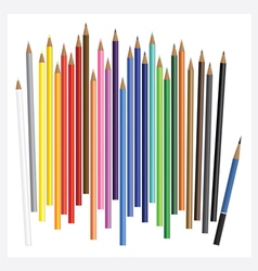 Colored pencils with drawing realistic 3d vector