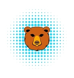 Head of bear icon comics style vector