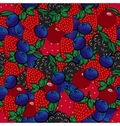Seamless pattern with different berries vector