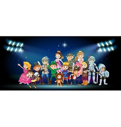 Actors in costumes on stage vector image vector image