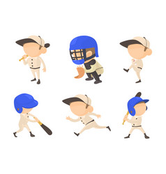 Baseball player icon set cartoon style vector