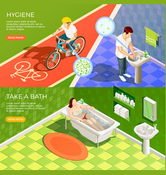 Bathroom horizontal banners set vector