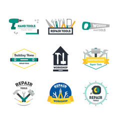 Cartoon hand tools badges or labels set vector