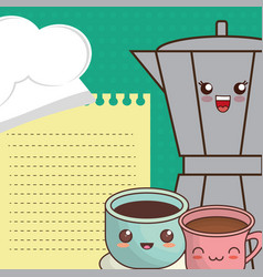 Cartoon maker coffee and cup chocolate menu vector