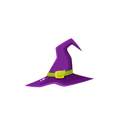 Cartoon purple witch wizrd pointed hat halloween vector