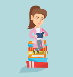 caucasian student sitting on a huge pile of books vector image vector image