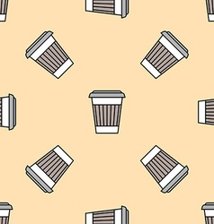 coffee paper cup colored seamless pattern vector image