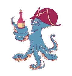 Cunning octopus-pirate with a bottle of alcohol in vector