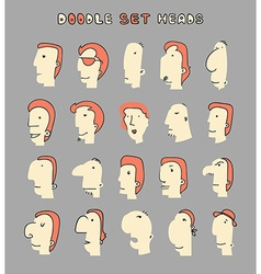Face boy set of 20 different avatar men characters vector
