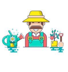 farmer and gardener character vector image