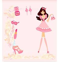 Fashion girl shopping card vector