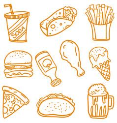 Fast food doodle set art vector