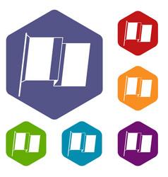 Flag of ireland icons set hexagon vector