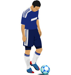 Football player preparing to kick punch colored vector