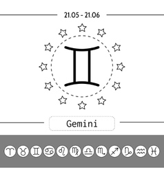 Gemini Signs of zodiac flat linear icons for vector image vector image