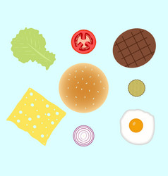 Hamburger or burger ingredients isolated on vector