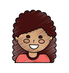 Happy girl with curly hair kid child icon image vector