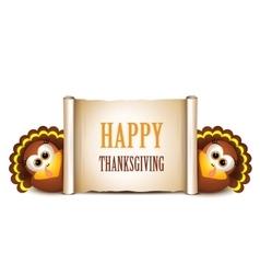 Happy Thanksgiving card Cartoon turkeys in a vector image vector image
