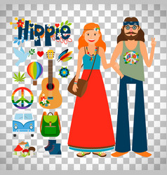hippie woman and man with guitar vector image