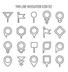 linear map pin mini icons flags and pins signs vector image