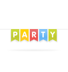 Party word on pennants on rope vector