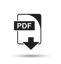 pdf icon flat pdf download sign symbol with vector image