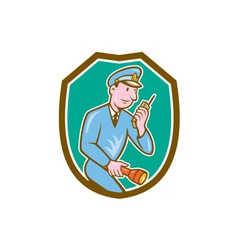 Policeman Torch Radio Shield Cartoon vector image