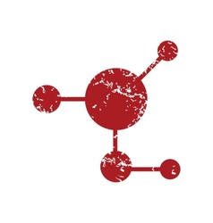 Red grunge atom logo vector