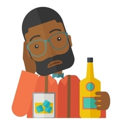 Sad african man alone in the bar drinking beer vector