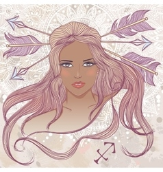Sagittarius as portrait of beautiful african girl vector