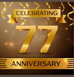 Seventy seven years anniversary celebration design vector