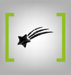 Shooting star sign black scribble icon in vector