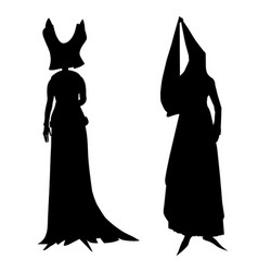 silhouettes of female medieval costumes vector image vector image